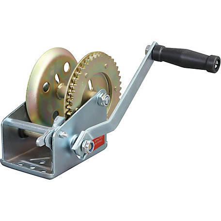 Torin Big Red TRT1151 1,500 lb. Single-Speed Manual Geared Hand Winch, Zinc Plated