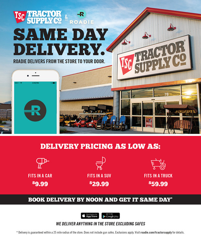 Same Day Delivery. Roadie Delivers from the Store to your Door.