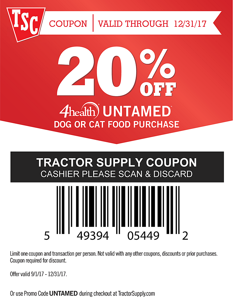 4health Untamed Coupon - 20% off Untamed Dog or Cat Food Purchase