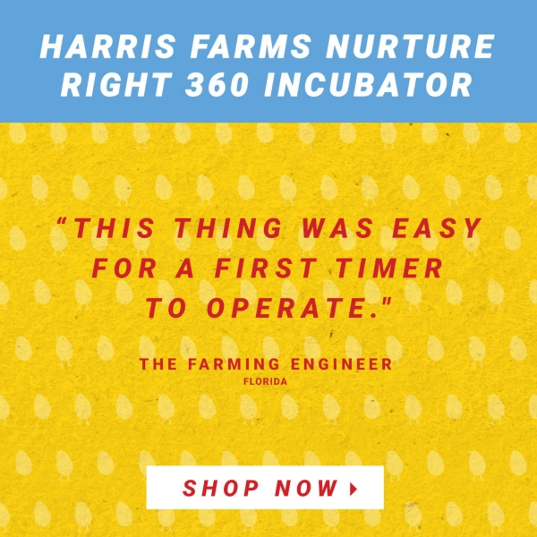 Harris Farms Nurture Right 360 Incubator. This thing was easy for a first timer to operate. The Farming Engineer, Florida. Shop All Incubators.