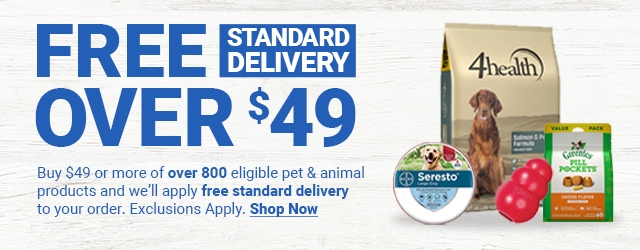 Free Standard Delivery Over $49. Buy $49 or more of over 800 eligible pet and animal products and we'll apply free standard delivery to your order. Exclusions Apply. Shop Now.