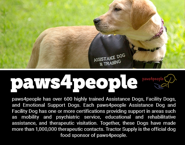 Paws4people: paws4people has over 600 highly trained Assistance Dogs, Facility Dogs, and Emotional Support Dogs. Each paws4people Assistance Dog and Facility Dog has one or more certifications providing support in areas such as mobility and psychiatric service, educational and rehabilitative assistance, and therapeutic visitation. Together, these Dogs have made more than 1,000,000 therapeutic contacts. Tractor Supply is the official dog food sponsor of paws4people.