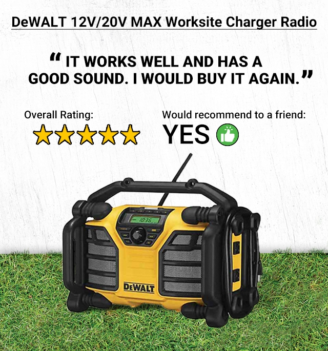 DeWalt 12V/20V MAX Worksite Charger Radio. It works well and has a good sound. I would buy it again. 5-stars overall rating. Yes, would recommend to a friend.