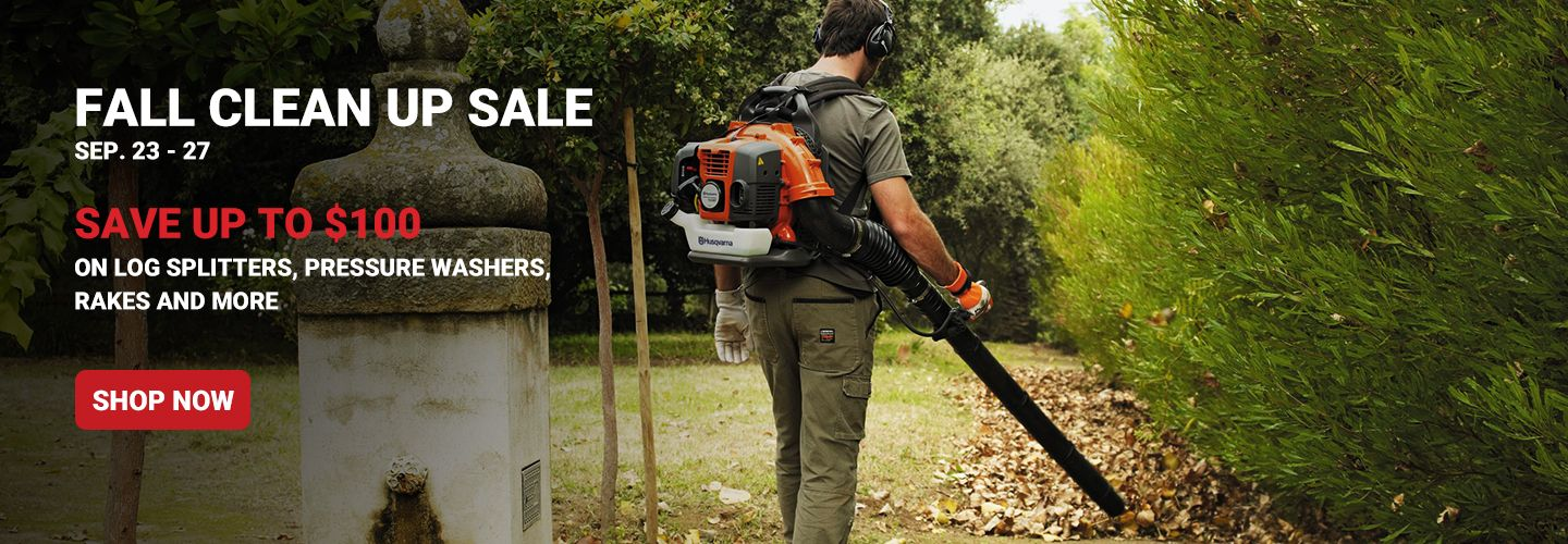 Fall Clean Up Sale, September 23 through 27. Save Up to $100 on Log Splitters, Pressure Washers, Rakes and More. Shop Now.