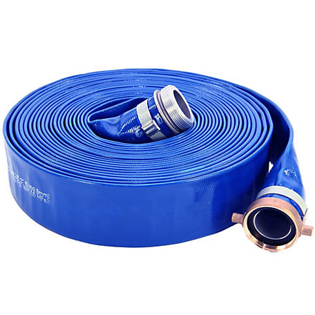 Abbott Rubber Lay-Flat PVC Discharge Hose Assembly, 1-1/2 in. ID x 25 ft., 1147-1500-25