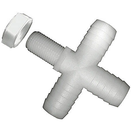 Green Leaf Nylon Nozzle Cross Fitting, 1/2 in Barb