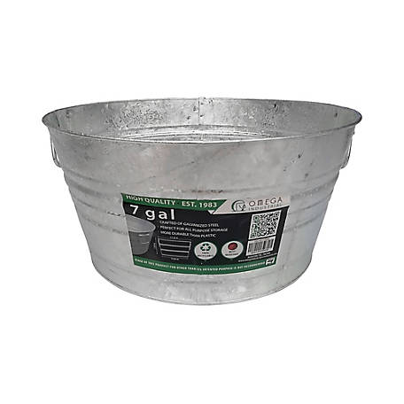 King Metalworks Hot Dipped Galvanized Tub, 7 gal. Capacity