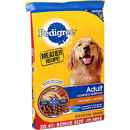 Pedigree Adult Complete Nutrition Roasted Chicken, Rice & Vegetable Flavor Dry Dog Food 20.4 lb. Bag