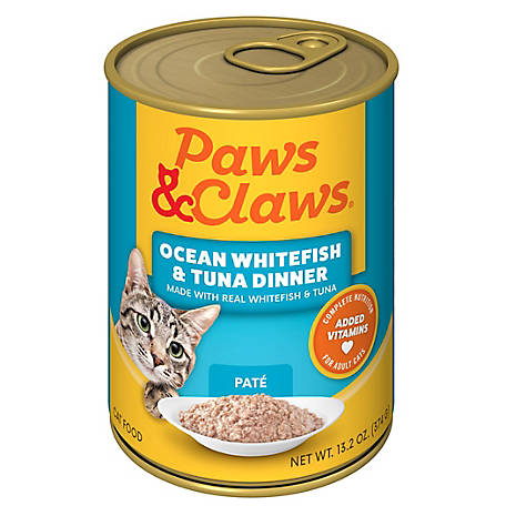 Paws & Claws Ocean Whitefish & Tuna Dinner Cat Food, 13.2 oz. can