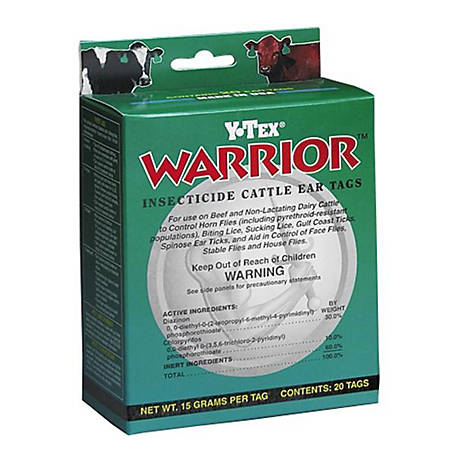 Y-Tex Warrior Insecticide Cattle Ear Tag, Pack of 20