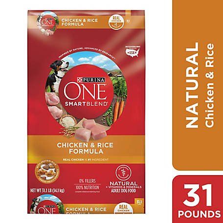 Purina ONE SmartBlend Chicken & Rice Formula Adult Premium Dog Food, 31.1 lb. Bag