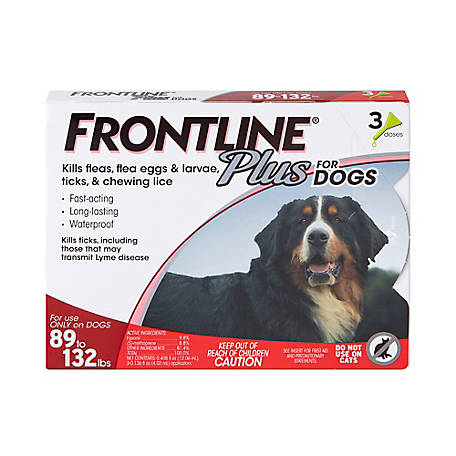 Frontline Plus for X-Large Dogs, 89 lb. to 132 lb., Three .136 oz. Doses, 710035040003