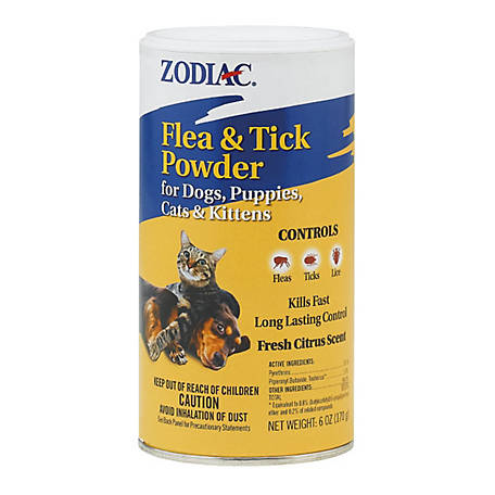 Zodiac Flea & Tick Powder For Dogs, Puppies, Cats & Kittens, 6 oz.
