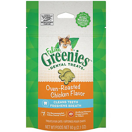 Greenies FELINE GREENIES Adult Natural Dental Care Cat Treats, Oven Roasted Chicken Flavor, 2.1 oz. Pouch