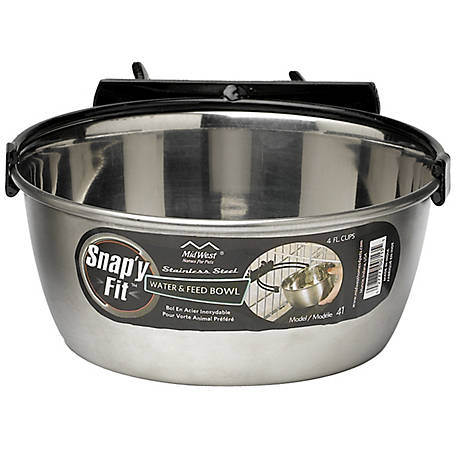 MidWest Homes for Pets Snap'y Fit Stainless Steel Pet Bowl, 1 qt.