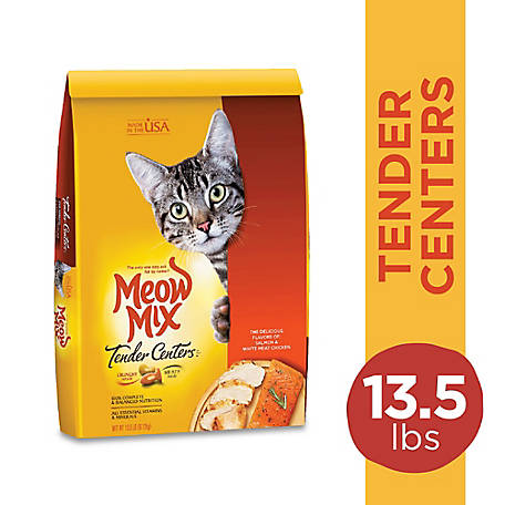 Meow Mix Tender Centers Salmon White Meat Chicken Flavors Dry