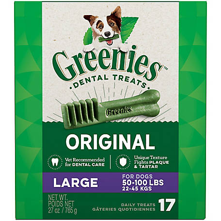 Greenies Canine Dental Chews, Large, Pack of 17