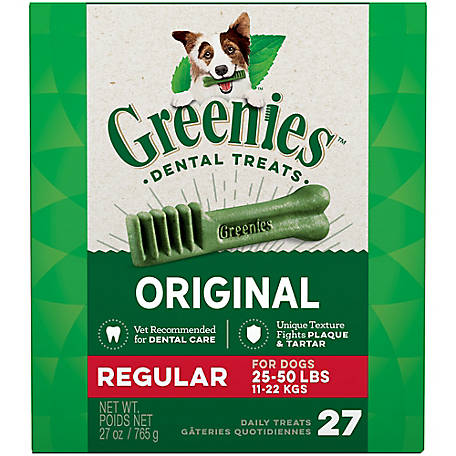 Greenies Canine Dental Chews, Regular, Pack of 27