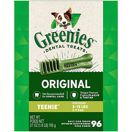 Greenies Canine Dental Chews, Teenie, Pack of 96