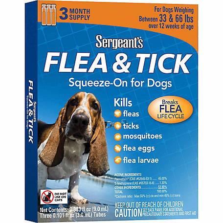 Sergeant's Flea & Tick Squeeze-On, For Dogs 33 to 66 lb.