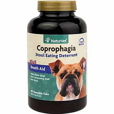 NaturVet Coprophagia Stool Eating Deterrent Plus Breath Aid, 60 Count Chewable Tablets