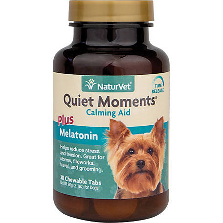 NaturVet Quiet Moments Calming Aid Plus Melatonin for Dogs, 30 Count Chewable Tablets