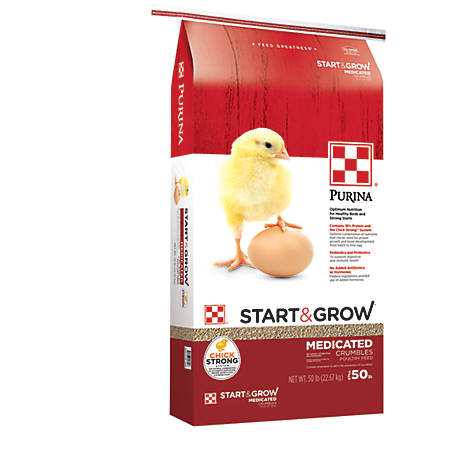 Purina Start & Grow Starter/Grower Medicated Feed Crumbles, 50 lb., 3003343-306