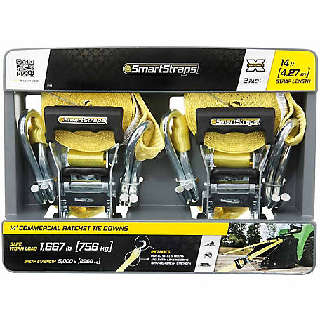 SmartStraps 14 ft. Yellow Premium RatchetX Tie Down, 1667 lb. Pack of 2