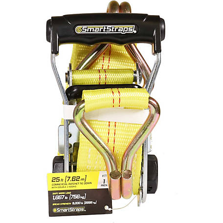 SmartStraps 2 in. x 25 ft. Yellow Standard Ratchet with Double J-Hook, 1667 lb.