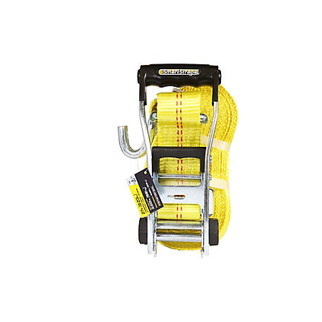 SmartStraps 2 in. x 27 ft. Yellow Ratchet with Double J-Hook, 3333 lb., 262