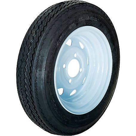 HI-RUN Replacement Tire, ASB1051 4.80-12 4PR & 12X4 4-4 WHITE (8SPK)