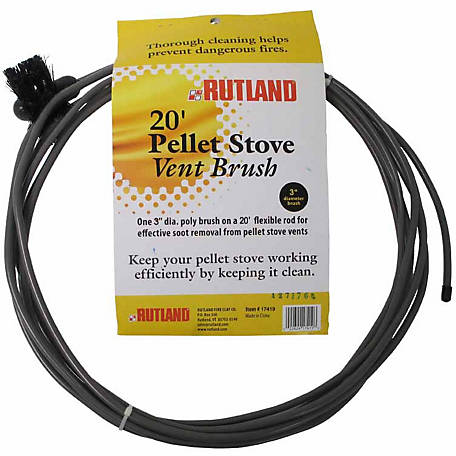 Rutland 3 in. Pellet Stove/Dryer Vent Brush with 20 ft. Handle, 17419