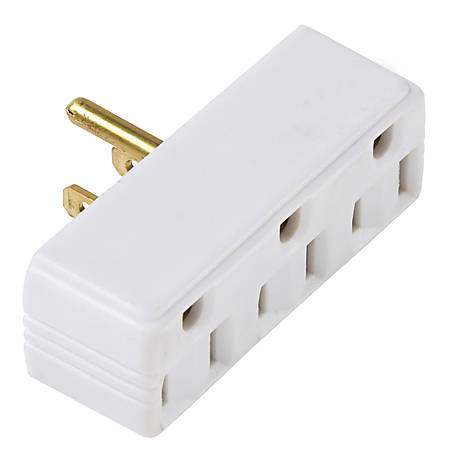 Pass & Seymour White Plug-In Adapter 1 to 3 Outlets, White