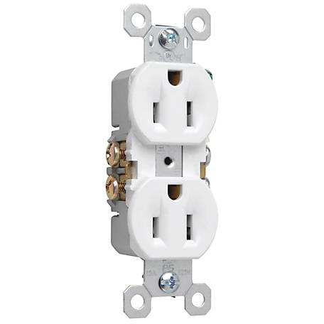 Pass & Seymour 15A Duplex Outlet, White