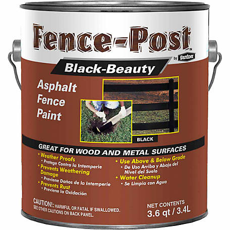 Gardner-Gibson Fence-Post Black-Beauty Asphalt Fence Paint, 3.6 qt.