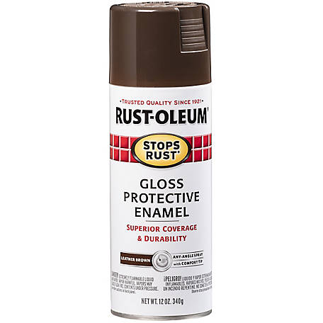 Rust-Oleum Stops Rust Protective Enamel Gloss 12 oz. Spray, Leather Brown, 7775830