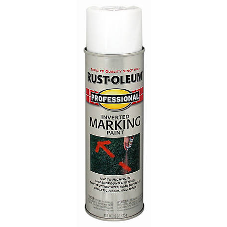 Rust-Oleum Professional Inverted Marking Spray Paint, Flat, White, 15 oz., 2592838