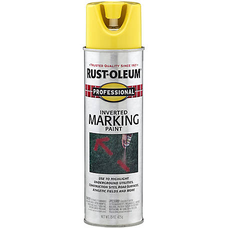 Rust-Oleum Professional Inverted Marking Spray Paint, Flat, High-Visibility Yellow, 15 oz., 2544838