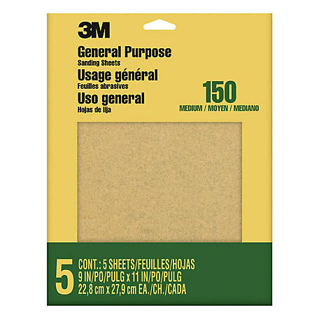 3M Aluminum Oxide Sandpaper, 9 in. x 11 in., Fine Grit, Pack of 5