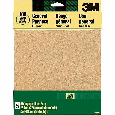 3M Aluminum Oxide Sandpaper, 9 in. x 11 in., Medium Grit, Pack of 5