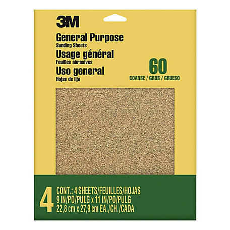 3M Aluminum Oxide Sandpaper, 9 in. x 11 in., Course Grit, Pack of 5
