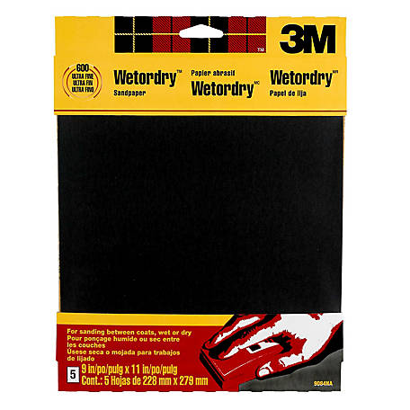3M Wetordry Sandpaper, 9 in. x 11 in., 600 Grit, Ultra Fine, Pack of 5