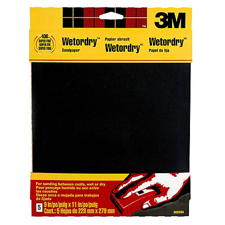 3M Wetordry Sandpaper, 9 in. x 11 in., 400 Grit, Super Fine, Pack of 5
