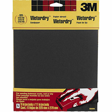 3M Wetordry Sandpaper, 9 in. x 11 in., 320 Grit, Extra Fine, Pack of 5
