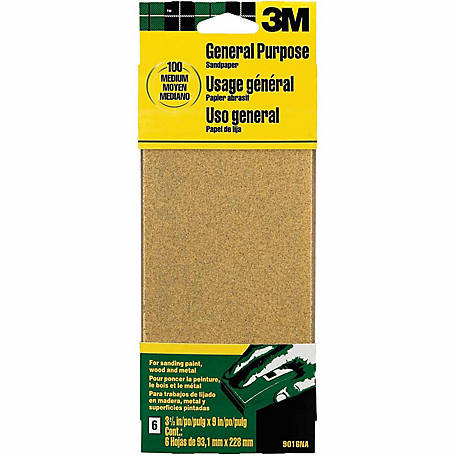 3M Aluminum Oxide Sandpaper, 3-2/3 in. x 9 in., Medium Grit, Pack of 6