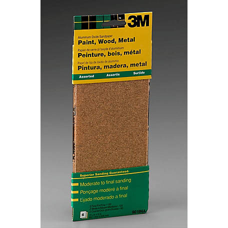 3M Aluminum Oxide Sandpaper, 3-2/3 in. x 9 in., Assorted Grits, Pack of 6