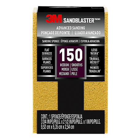 3M SandBlaster Bare Surfaces Sponge, 150 Grit