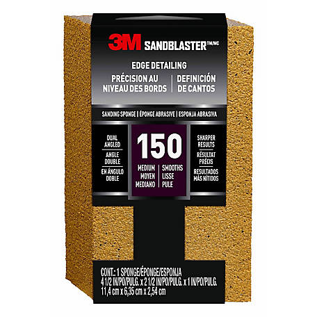 3M SandBlaster Bare Surfaces Dual Angle Sanding Sponge, 4.5 in. x 2.5 in. x 1 in., 150 Grit