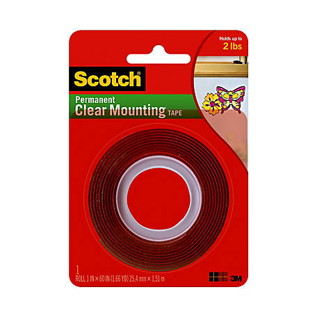 Scotch Clear Mounting Tape, 1 in. x 60 in.
