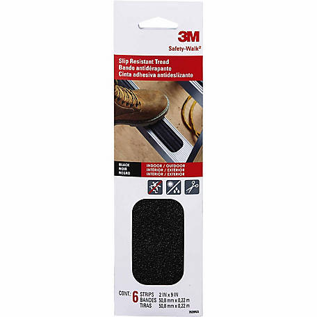 3M Safety-Walk Outdoor Anti-Slip Tread, 2 in. x 9 in., Black, Pack of 6